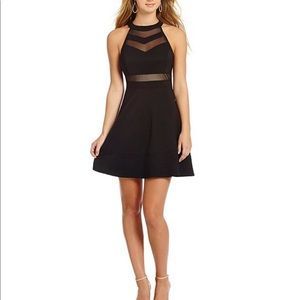 High-Neckline Illusion Skater Mini Dress